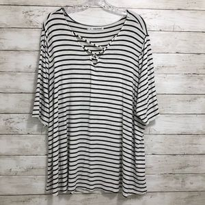 Maurices | Black and White Striped Pullover Top 3